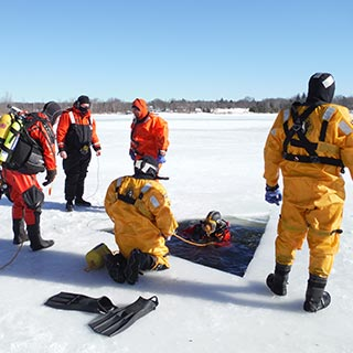 Group of technical ice divers