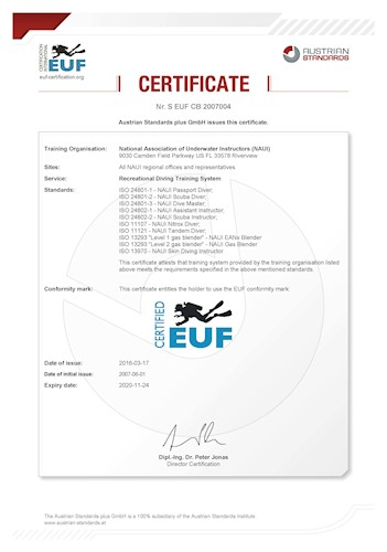 ISO Required Changes   NAUI Worldwide. Dive Safety Through Education