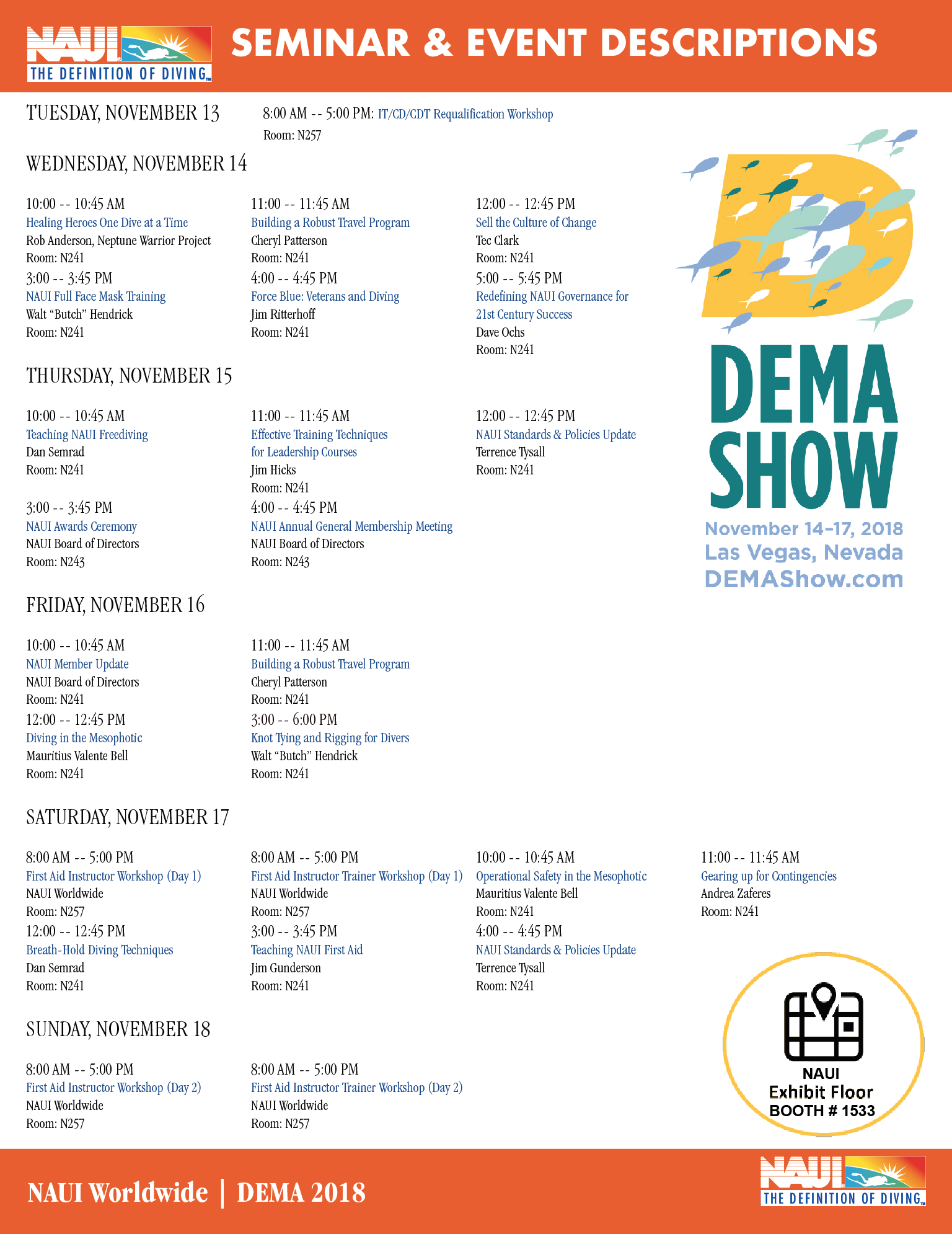 Naui Releases Schedule Of Events For Dema Show 2018 Naui Worldwide